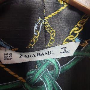 Zara Tops - Zara Tie Neck Tassel Pattern Blouse